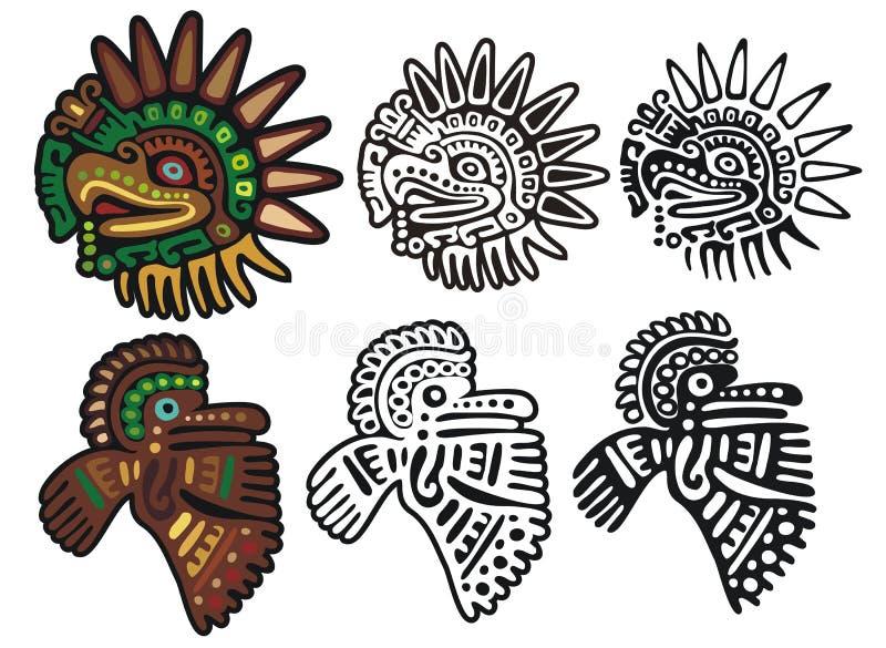 老鹰玛雅纵的沟纹的神 皇族释放例证