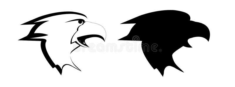 老鹰的头绘与在白色背景的黑油漆 传染媒介黑白图象 库存例证