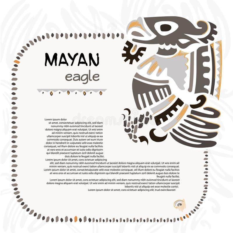 老鹰的抽象玛雅人和阿兹台克人标志 皇族释放例证
