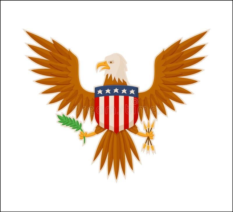 老鹰美国全国吉祥人动物颜色横幅 库存例证