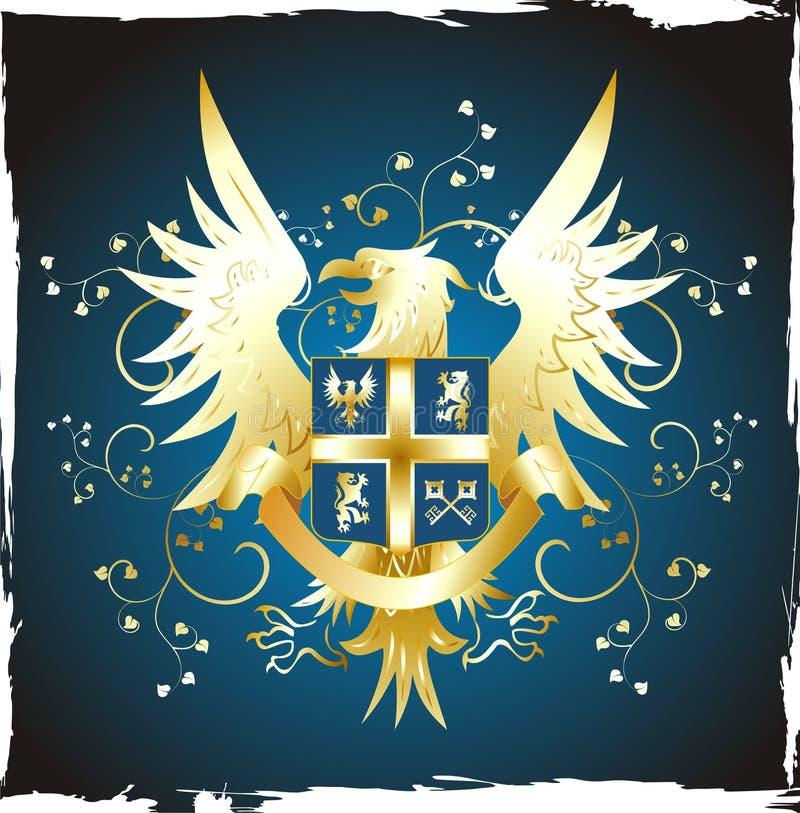 老鹰金黄纹章学盾 向量例证