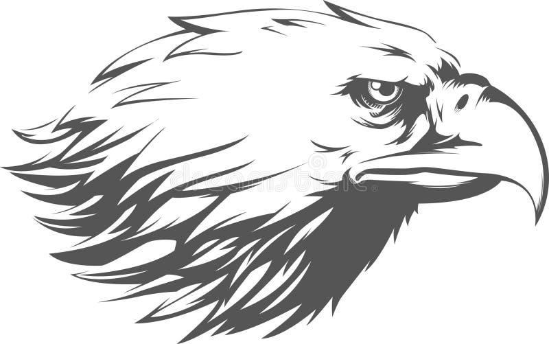 老鹰顶头传染媒介-侧视图剪影 向量例证
