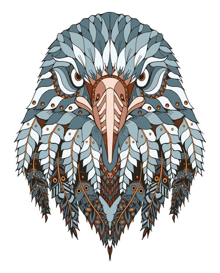老鹰顶头zentangle传统化了,导航,例证,徒手画的pe 皇族释放例证
