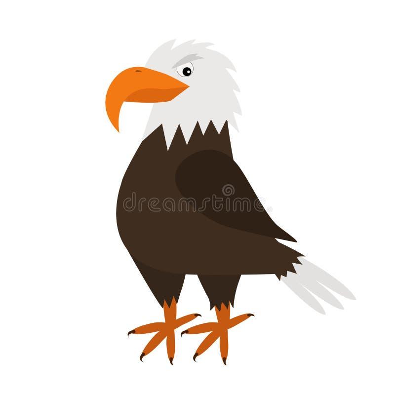 老鹰鹰 大额嘴 美好的异乎寻常的鸟象 小动物汇集 逗人喜爱的动画片滑稽的字符 平的设计 白色backgro 库存例证