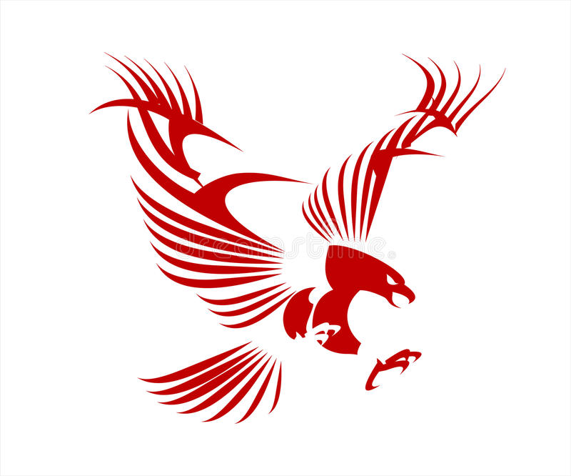 老鹰 猎鹰 风格化伟大的红色老鹰 向量例证