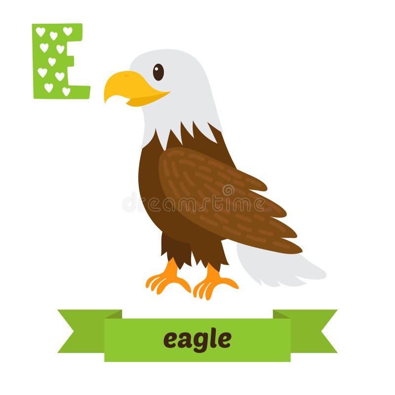 老鹰 E信件 逗人喜爱的在传染媒介的儿童动物字母表 滑稽 皇族释放例证