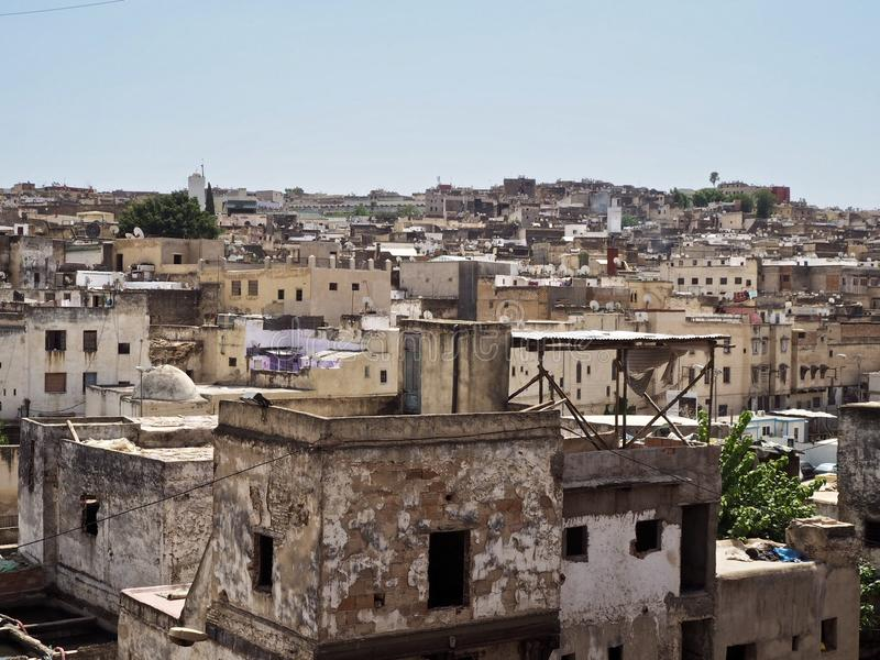 老麦地那的看法在菲斯,摩洛哥 免版税库存图片