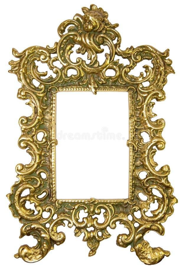 老黄铜框架 免版税库存照片