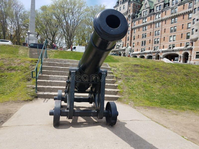 老黑大炮在把魁北克,加拿大引入 图库摄影