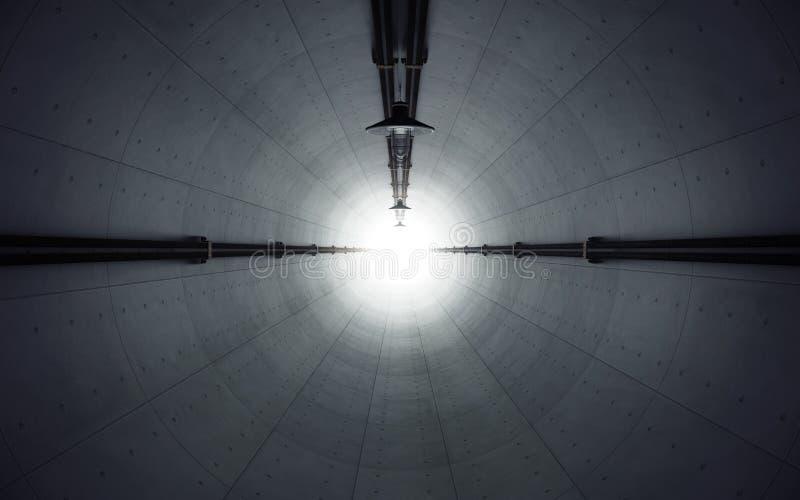 老黑暗放弃了有光的具体隧道在末端 3d 库存例证
