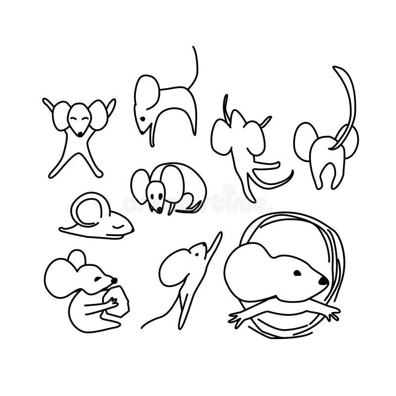 老鼠动画片字符集 r 向量例证