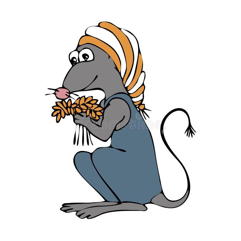 老鼠夏天 手图画剪影 在白色背景的五颜六色的概述 r 皇族释放例证