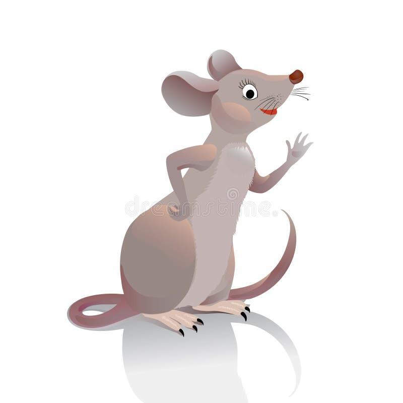 老鼠摇她的手您 小的灰色棕色田鼠在外形a 皇族释放例证