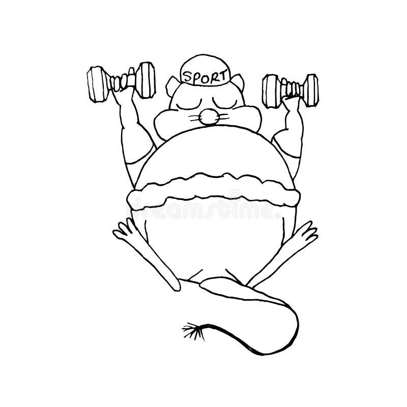 老鼠春天 手图画剪影 在白色背景的黑概述 r 向量例证
