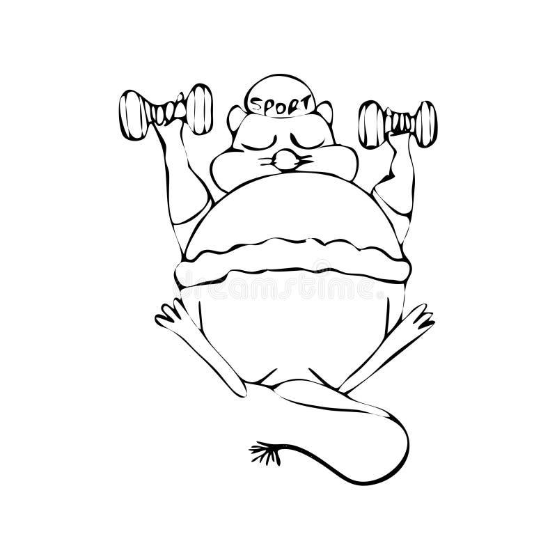 老鼠春天 手图画剪影 在白色背景的黑概述 r 库存例证