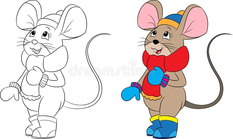 老鼠的例证,穿戴在冬天,在颜色和黑白,为儿童的彩图完善 库存例证