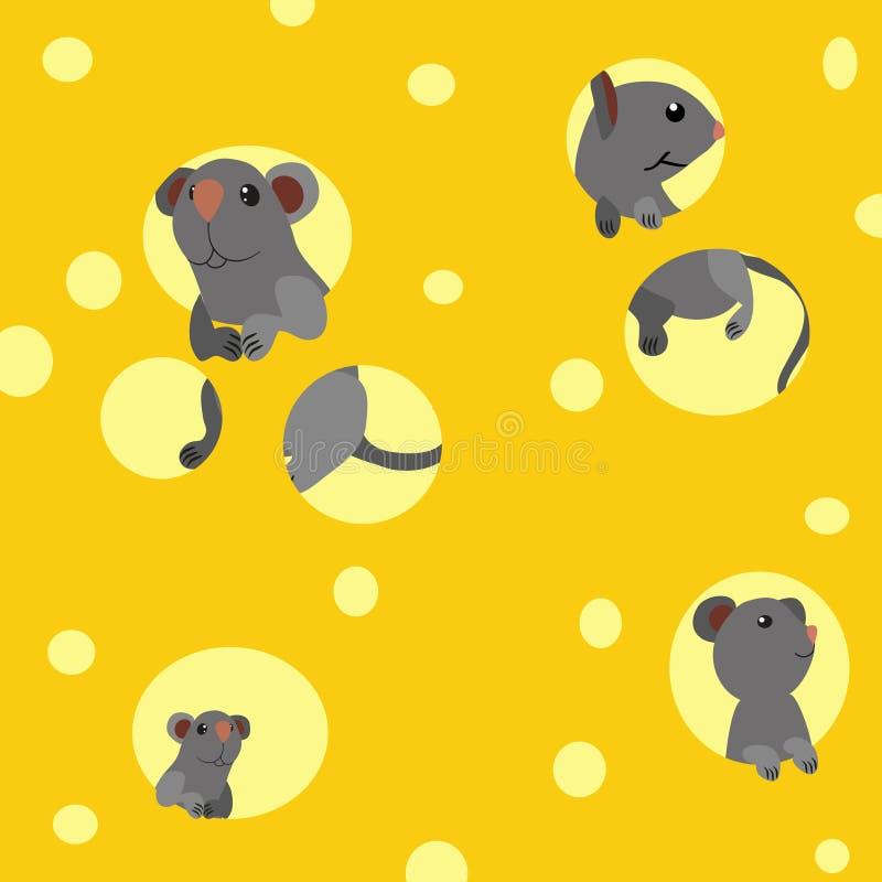老鼠,乳酪 库存例证