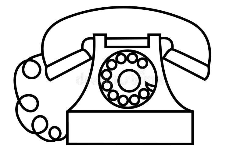 老,减速火箭,古色古香,葡萄酒,行家,有在白色背景的一个冲程画的管子的黑白圆盘电话 向量例证