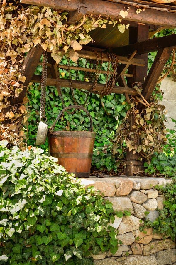 老水井和一个木桶在常春藤叶子中 库存照片