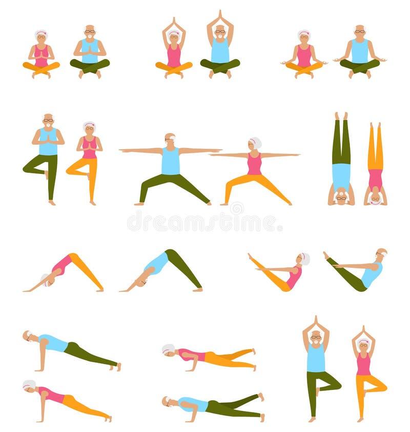 老年人实践瑜伽 套asanas 放松并且思考 健康退休金生活方式 向量例证
