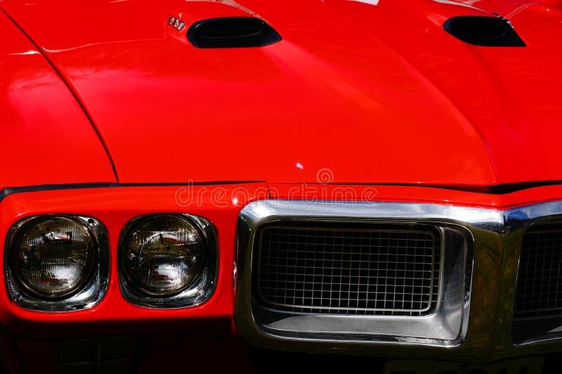 老经典红色汽车入口细节 免版税库存照片