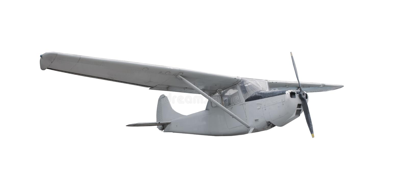 老经典飞机被隔绝的白色背景 库存照片