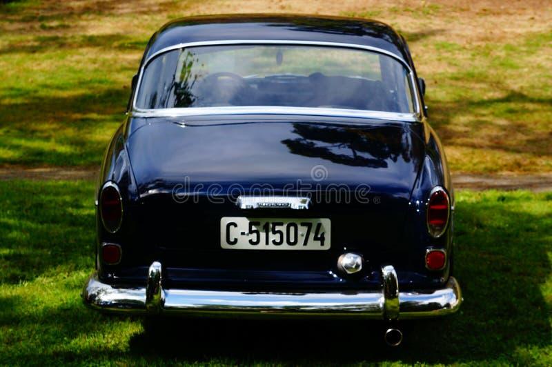 老经典黑汽车入口细节 免版税库存图片