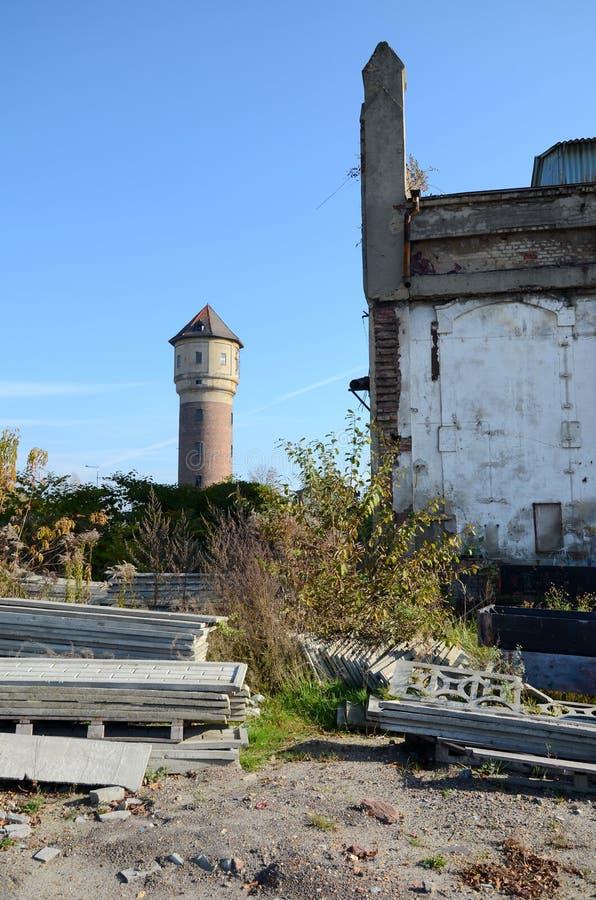 老水塔在卡托维兹,波兰 库存照片
