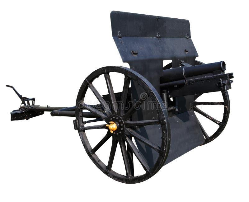 老黑大炮隔绝了古老battl的白色背景用途 库存图片