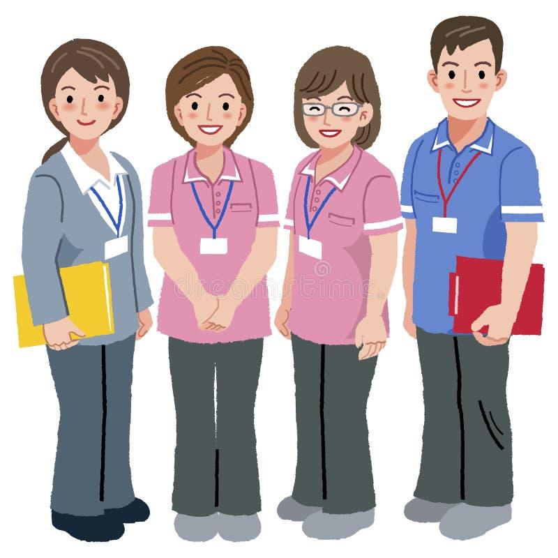 老年医学的关心经理和社会工作者 向量例证