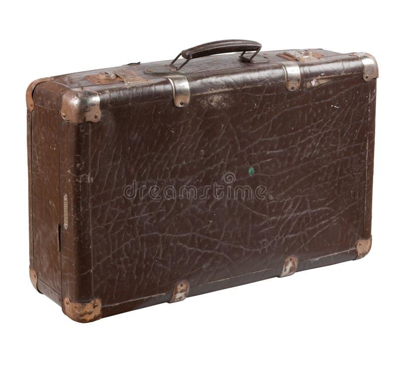 老破旧的皮革手提箱 免版税库存照片