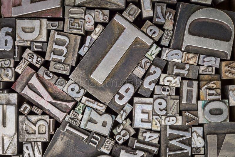 老活版金属类型打印块 免版税库存照片