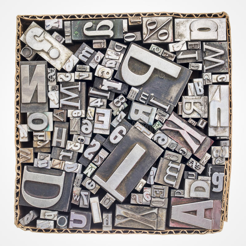 老活版金属类型打印块 库存图片