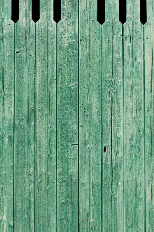 老绿色被绘的被风化的木板条 库存照片