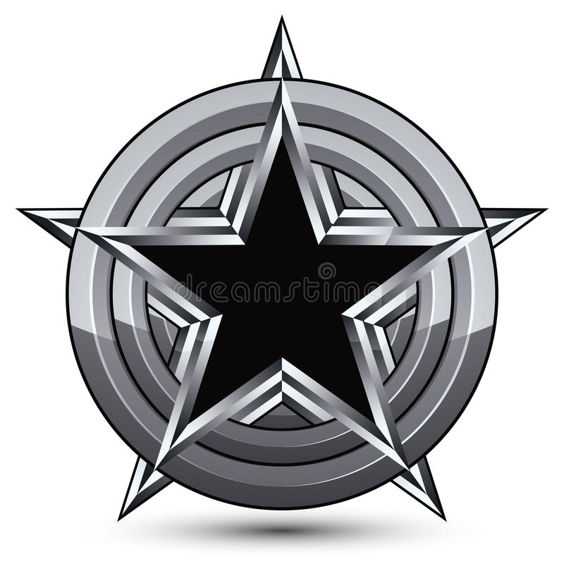 老练设计几何标志,风格化五角形黑色 皇族释放例证