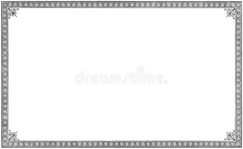 老年迈的脏的葡萄酒书小插图板刻,被隔绝的纸板料页黑色刻记了框架背景,水平被构筑 免版税图库摄影