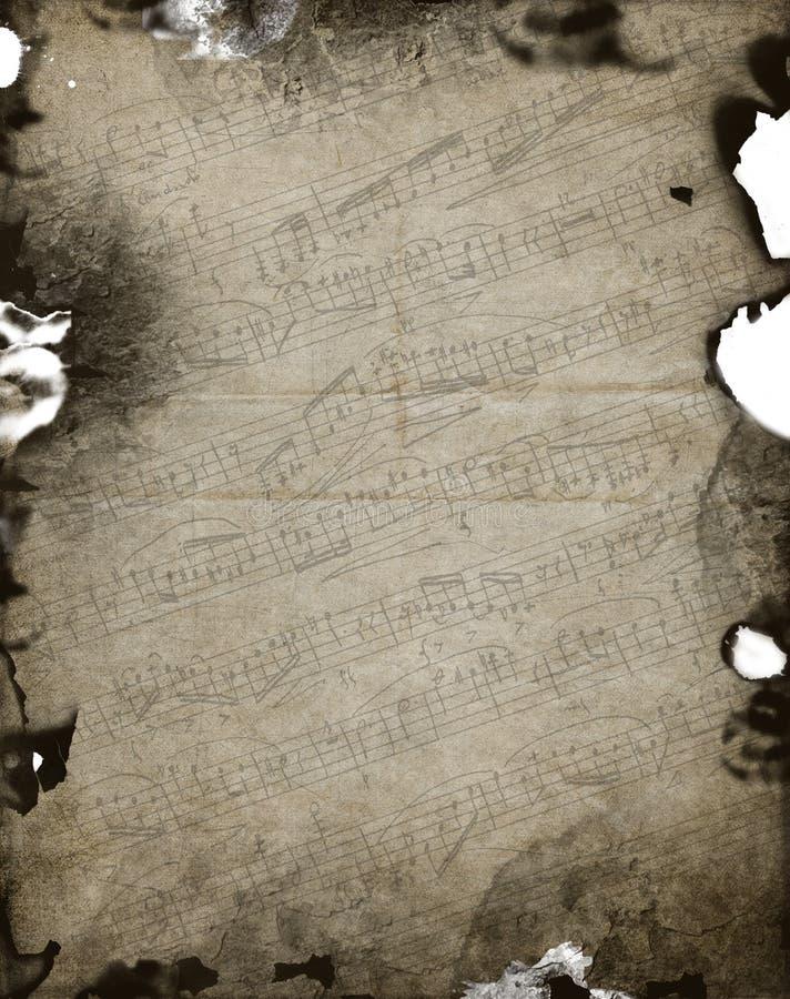 老活页乐谱背景-被烧的边缘 皇族释放例证