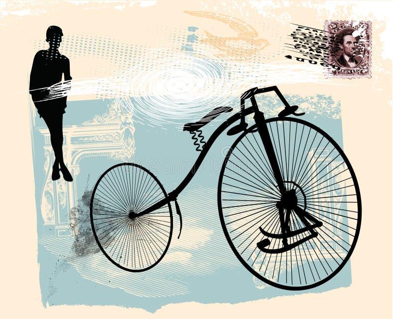 老1辆自行车 向量例证