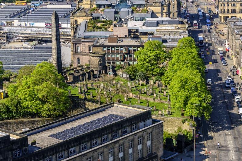 老Calton公墓在爱丁堡,苏格兰 免版税库存照片