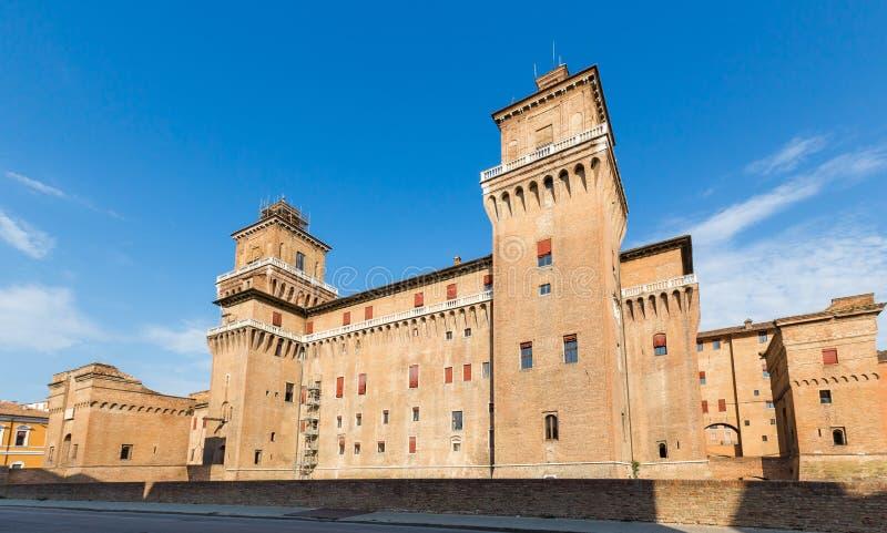 老Estense城堡在费拉拉,意大利 库存图片
