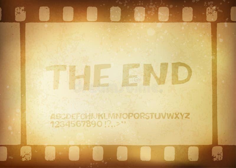老filmstrip。 电影结束框架 向量例证