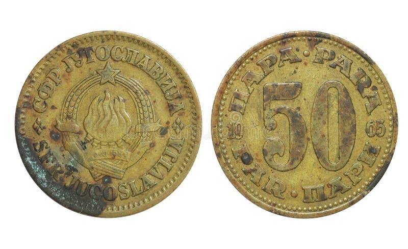 老jugoslavija 50丁那,年1965年 免版税库存照片