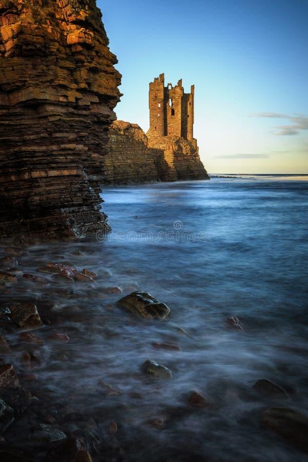 老Keiss城堡,高地,苏格兰 免版税库存图片