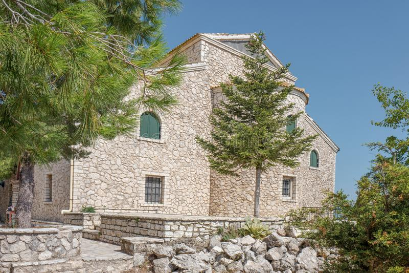 老Perithia的Pantokrator教会在科孚岛 图库摄影
