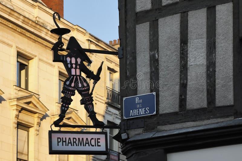 老pharmacie在法国 库存照片