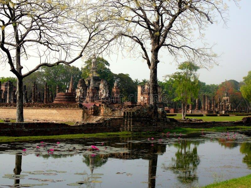 老Sukhothai废墟在北泰国 免版税库存照片