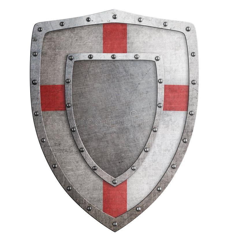 老templar或烈士金属盾3d例证 向量例证