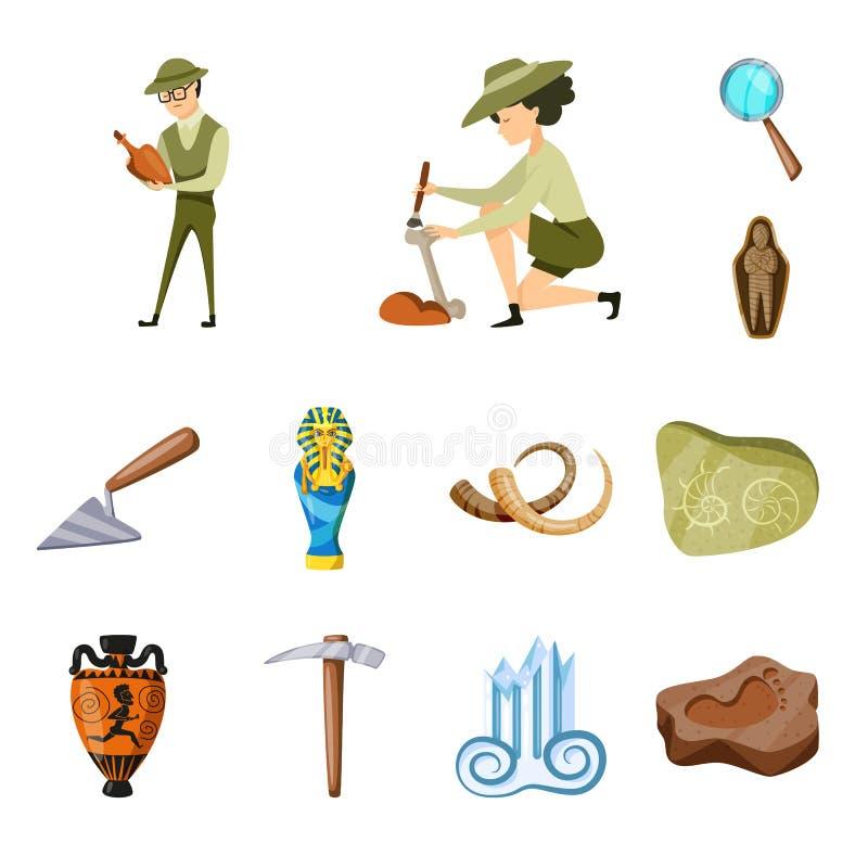 考古学和历史标志传染媒介设计  设置考古学和挖掘股票传染媒介例证 向量例证