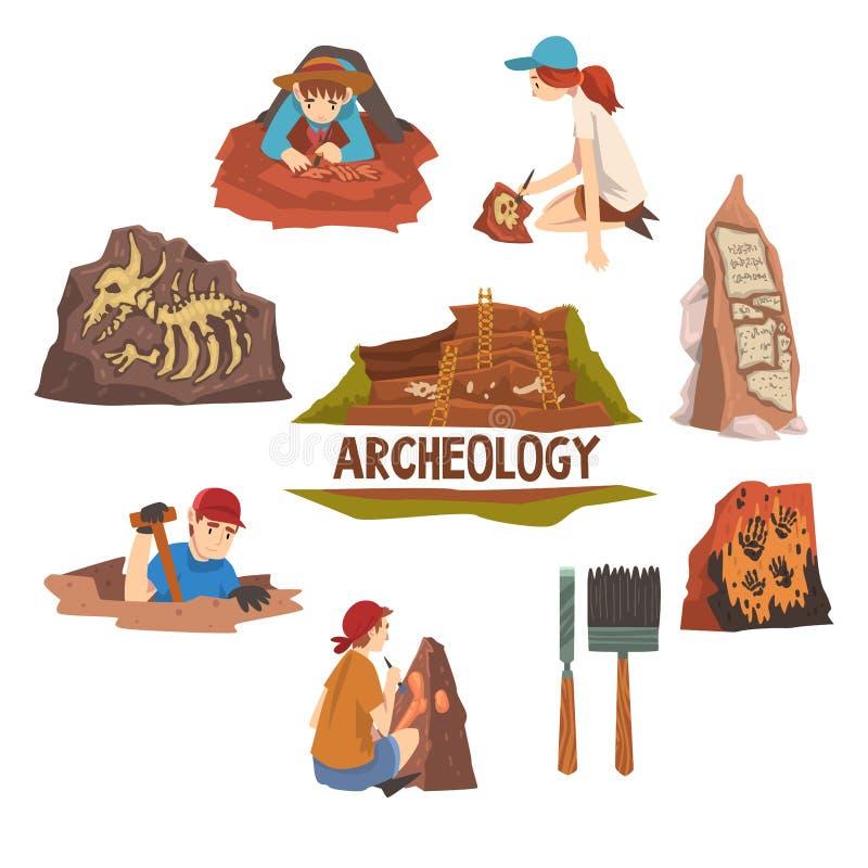 考古学和古生物学集合、科学家工作在挖掘,考古学人工制品和工具导航 皇族释放例证