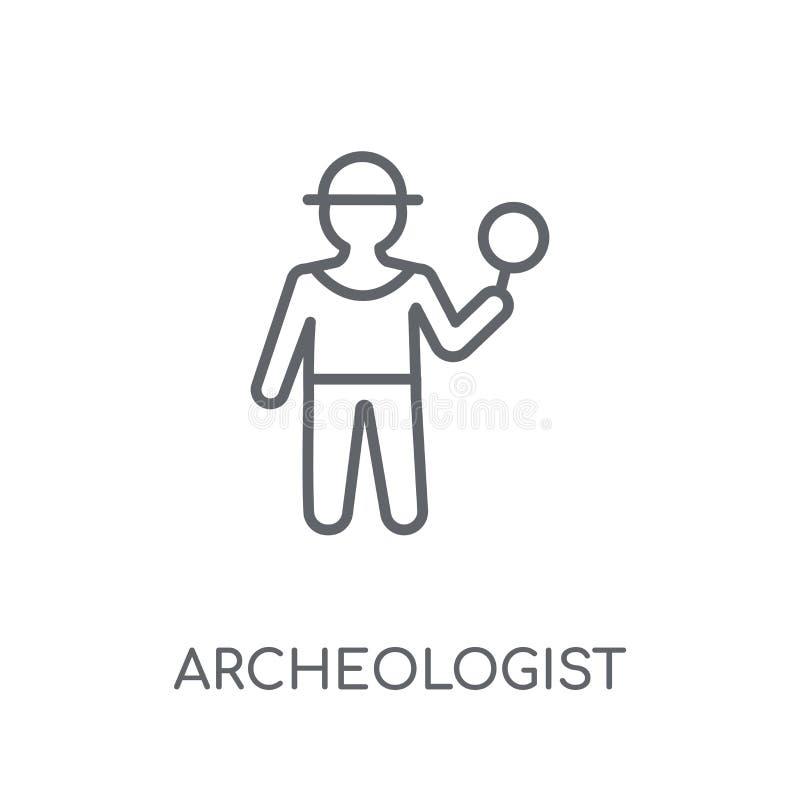 考古学家线性象 现代概述考古学家商标conce 向量例证